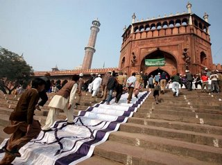 Israeli flag draped over the steps to the Jama mosque in New Delhi