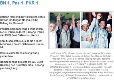 Utusan - political headline of the day